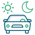 car icon with sun and moon icons