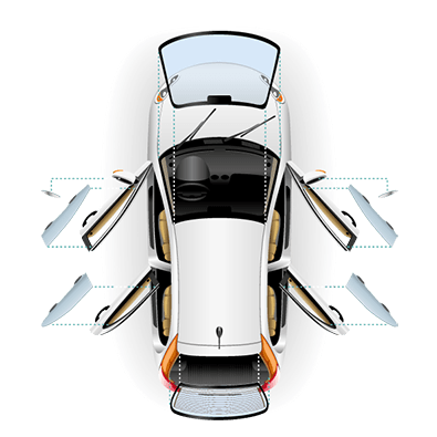 aerial view of silver car with windscreen glass and door glass removed
