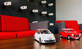 model cars on table in Premium Choice reception